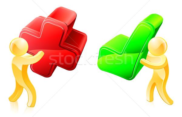 Stockfoto: Kruis · illustratie · groene · een · rode · kruis
