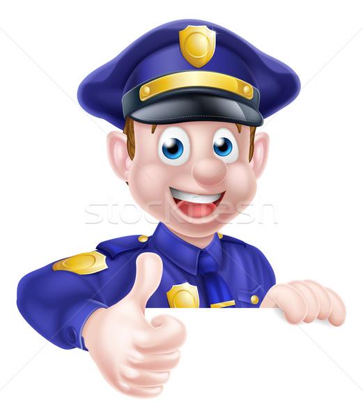 Policjant cartoon przyjazny podpisania człowiek Zdjęcia stock © Krisdog
