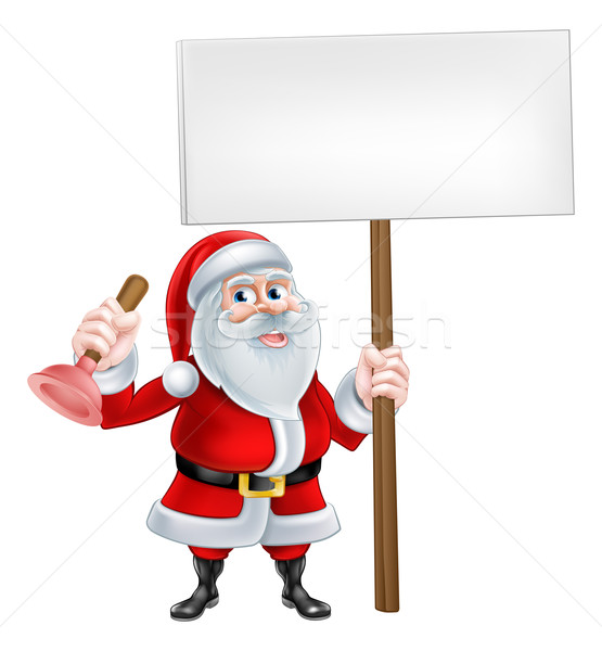 Santa Plunger Sign Stock photo © Krisdog