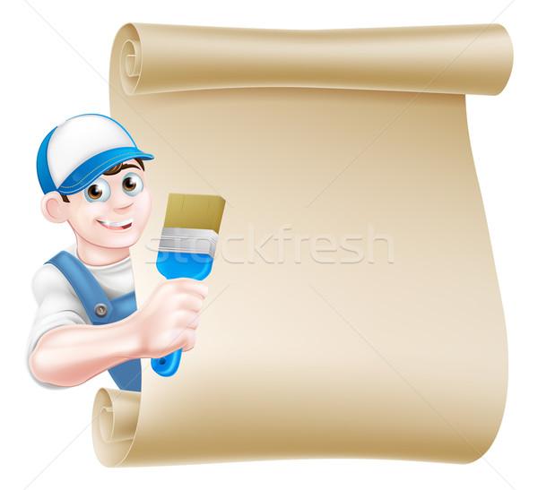 Cartoon peintre signe cap chapeau bleu Photo stock © Krisdog