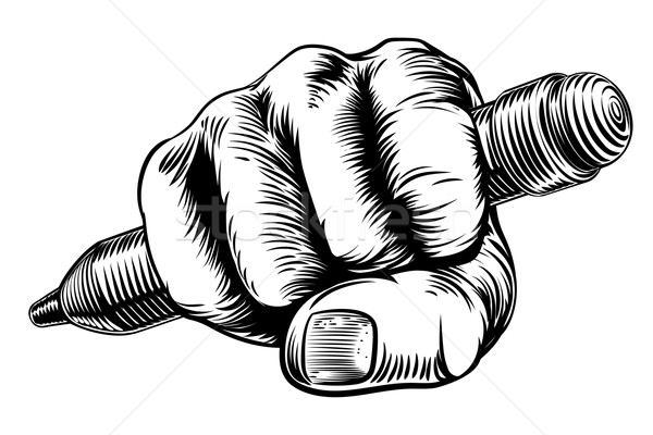 Woodcut Fist Hand Holding Pencil Stock photo © Krisdog