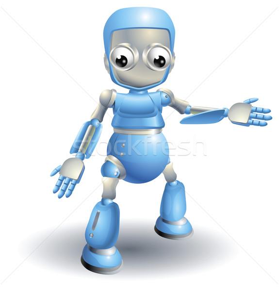 Sevimli robot işaret dışarı bir şey mavi Stok fotoğraf © Krisdog