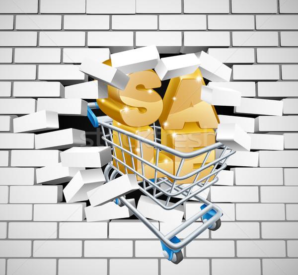 Sale Shopping Cart Smashing Wall Stock photo © Krisdog