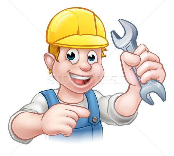Mechanic or Plumber Cartoon Character Stock photo © Krisdog