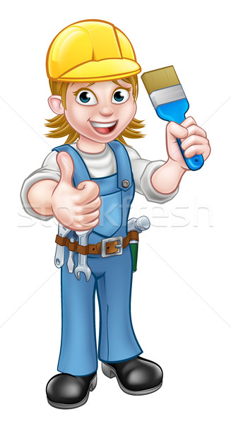 Woman Painter Decorator Cartoon Character Stock photo © Krisdog