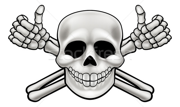 Cartoon Skull and Thumbs Up Crossbones Stock photo © Krisdog