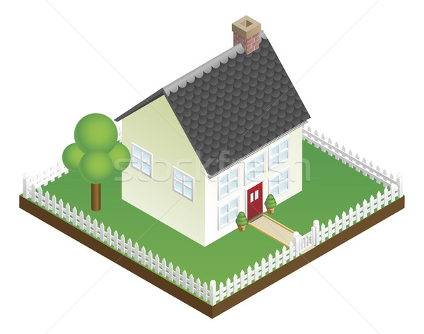 Quaint house with picket fence isometric view Stock photo © Krisdog