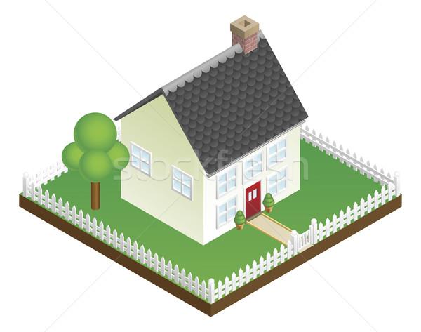 Huis hek isometrische familie gebouw Stockfoto © Krisdog