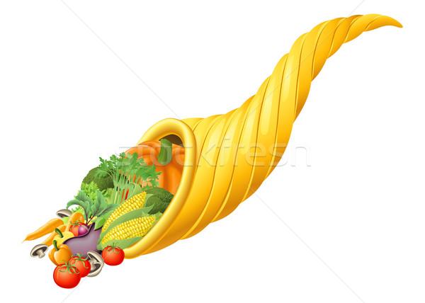 Ação de graças colheita festival cornucópia chifre ilustração Foto stock © Krisdog