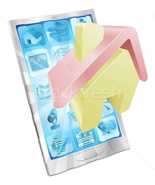 Maison icône téléphone app maison sur Photo stock © Krisdog