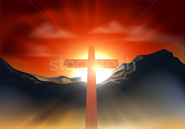 Christian Easter cross concept Stock photo © Krisdog