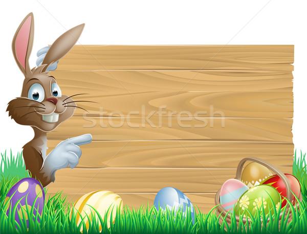 Stockfoto: Paaseieren · Easter · Bunny · karakter · wijzend