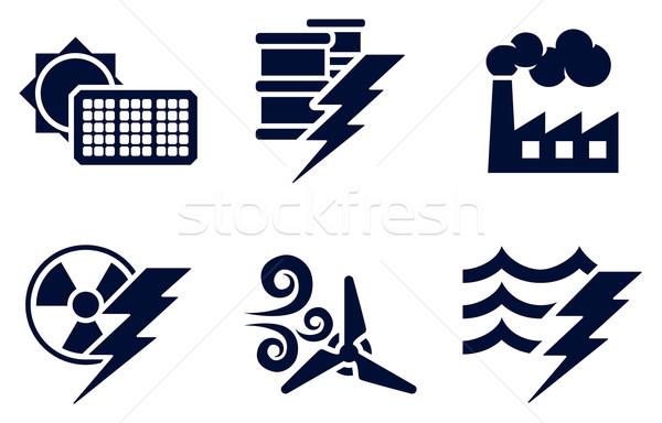 Pouvoir énergie icônes six génération Photo stock © Krisdog