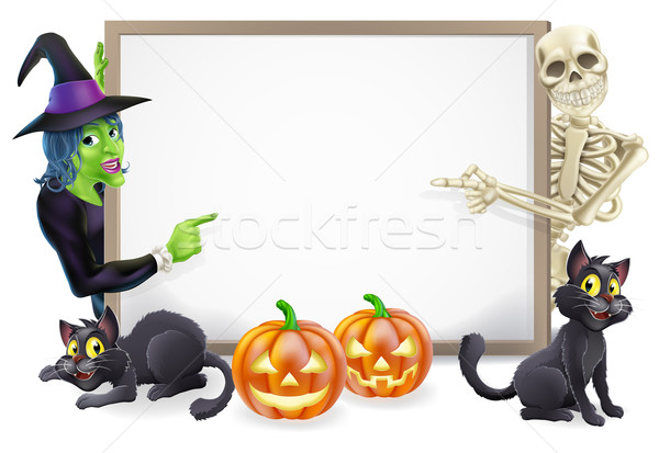 Halloween Sign with Skeleton and Witch Stock photo © Krisdog
