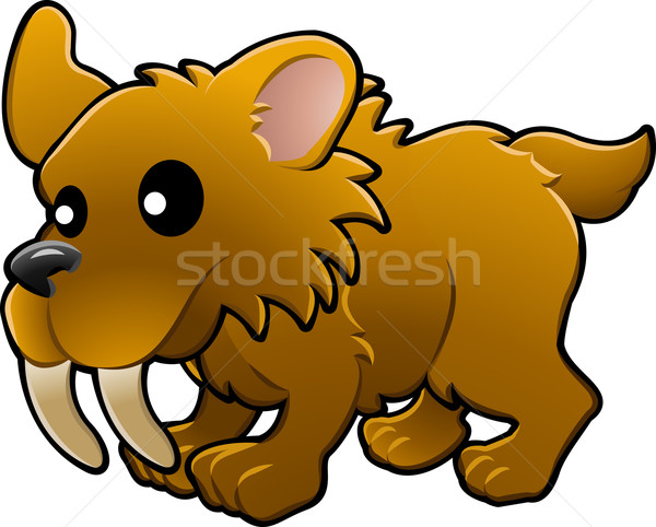 Cute sabre tooth tiger illustration Stock photo © Krisdog
