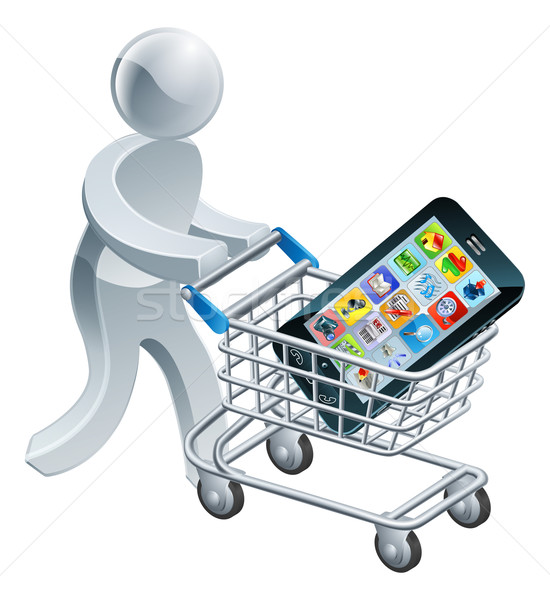 Person pushing trolley with mobile phone Stock photo © Krisdog