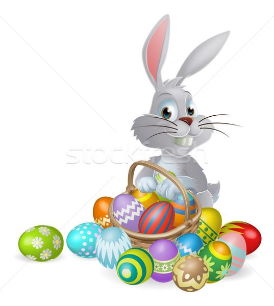 Blanco Conejo de Pascua chocolate huevos conejo cesta Foto stock © Krisdog