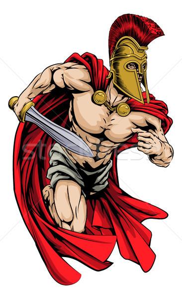 Spartan sport mascotte illustrazione guerriero carattere Foto d'archivio © Krisdog