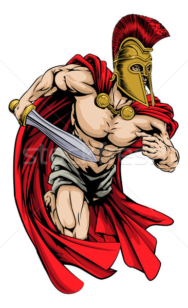 Espartano deportes mascota ilustración guerrero carácter Foto stock © Krisdog