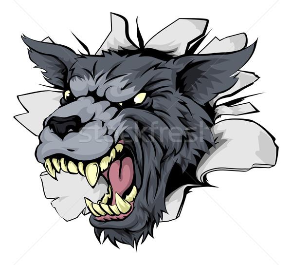 Monster Wolf Mascot Breakthrough Stock photo © Krisdog