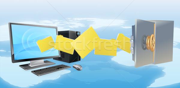 コンピュータ 安全 安全 転送 バックアップ ファイル ストックフォト © Krisdog