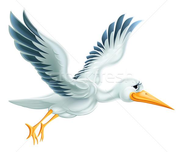 Stork Flying Cartoon Stock photo © Krisdog