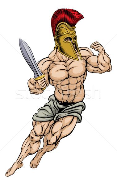 Romano gladiador guerreiro ilustração muscular forte Foto stock © Krisdog