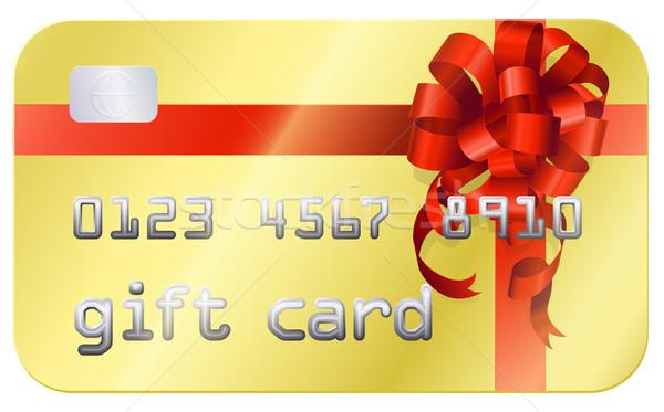 Tarjeta de regalo tarjeta de crédito estilo ilustración rojo arco Foto stock © Krisdog