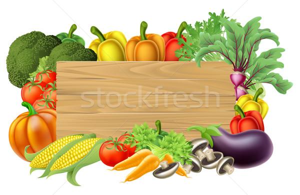 Segno legno verdura confine frutta fresca Foto d'archivio © Krisdog