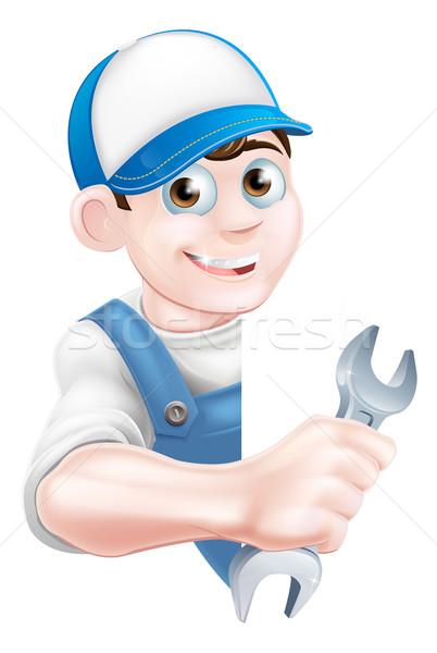 Cartoon Man Mechanic Plumber Stock photo © Krisdog