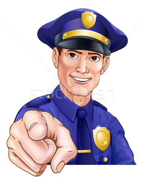 Happy Pointing Police Man Stock photo © Krisdog