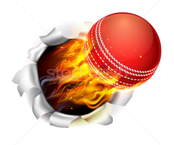 Stock photo: Flaming Cricket Ball Tearing a Hole in the Background