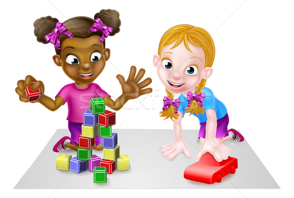 Girls Playing with Blocks and Toy Car Stock photo © Krisdog