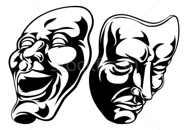 Theater maskers illustratie komedie tragedie glimlach Stockfoto © Krisdog