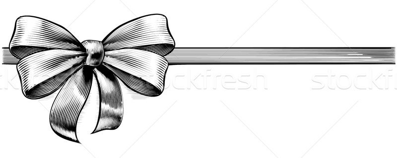 Ribbon Gift Bow Vintage Engraved Etching Woodcut Stock photo © Krisdog
