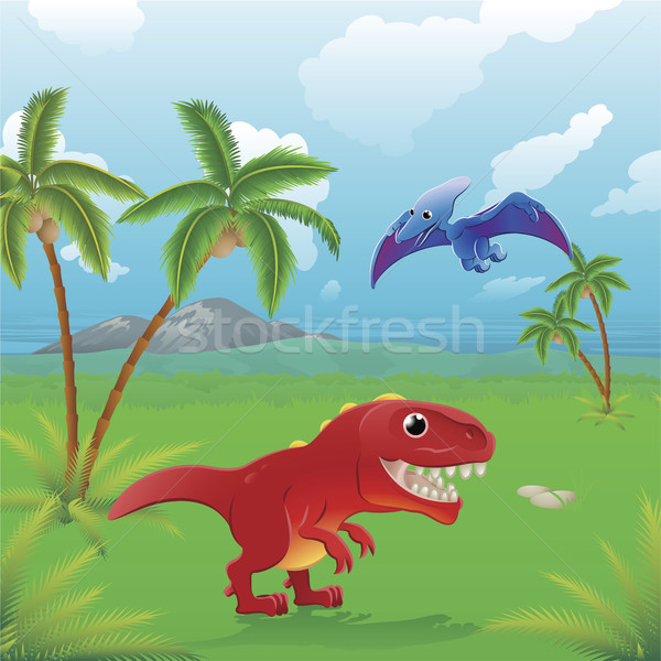 Cartoon dinosaurs scene.  Stock photo © Krisdog