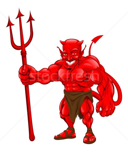 Devil standing with pitchfork Stock photo © Krisdog