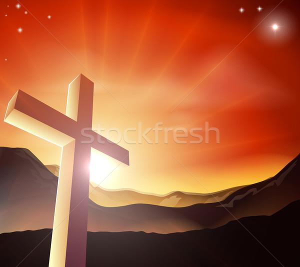 イースター クロス 太陽 後ろ 山 ストックフォト © Krisdog
