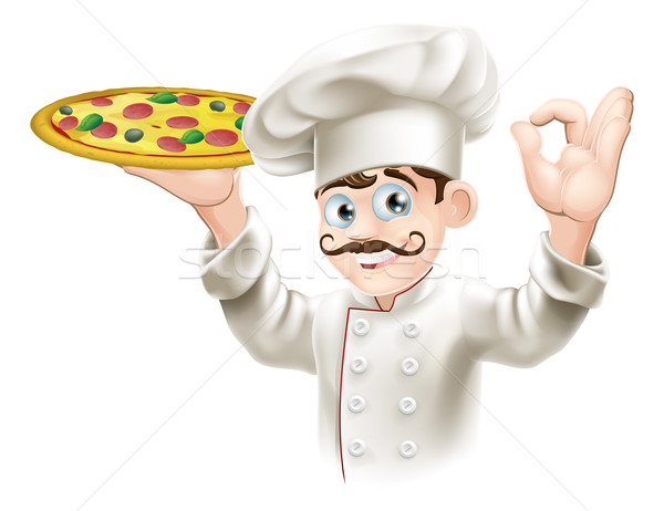Cook holding a tasty pizza Stock photo © Krisdog