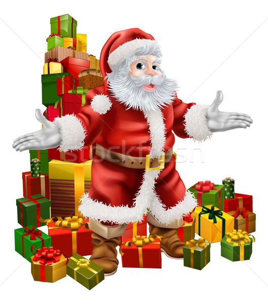 Santa Claus and Christmas Gifts Stock photo © Krisdog