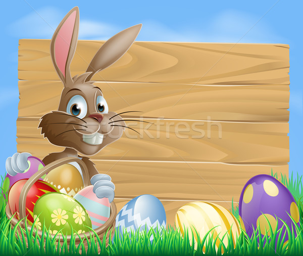 Stock photo: Easter bunny background sign
