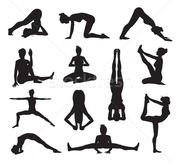 Yoga or pilates poses silhouettes Stock photo © Krisdog