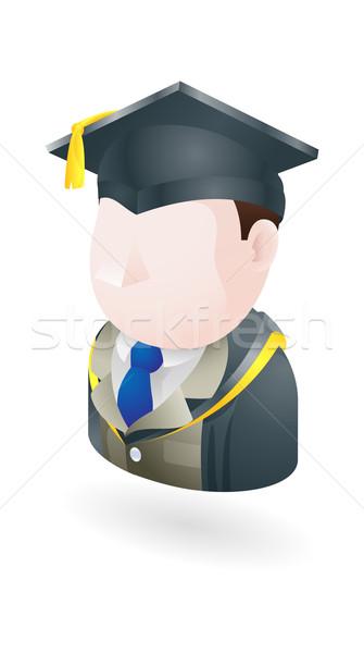 Stockfoto: Leraar · illustratie · afstuderen · cap · man · cartoon
