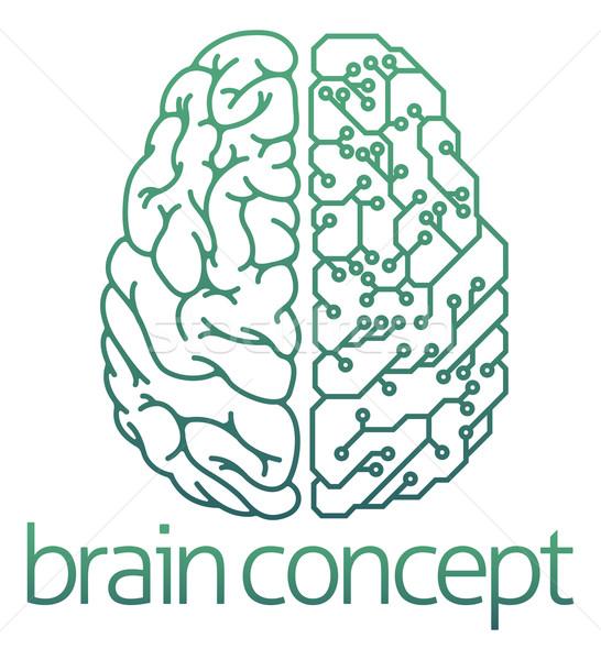 Cervello metà elettriche circuito abstract illustrazione Foto d'archivio © Krisdog