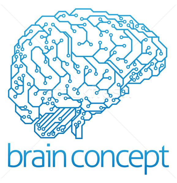 矢量图: 人工智能 · 抽象 · 插图 · 电子 · 电路板 · 大脑