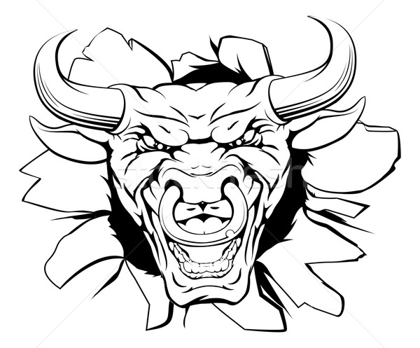 Stock photo: Bull mascot smashing out
