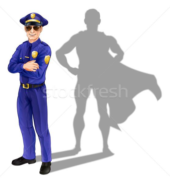 Szuperhős rendőr hős illusztráció áll árnyék Stock fotó © Krisdog