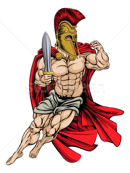 Spartanisch Krieger Illustration muskuläre starken Hintergrund Stock foto © Krisdog
