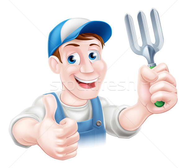 Stock photo: Thumbs up Gardener with Fork
