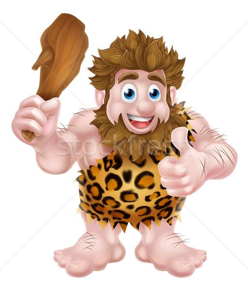 Cartoon Caveman Giving Thumbs Up Stock photo © Krisdog